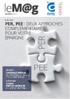 Le M@g Arobas Finance n°81 / PER, PEE : deux approches complémentaires pour votre épargne